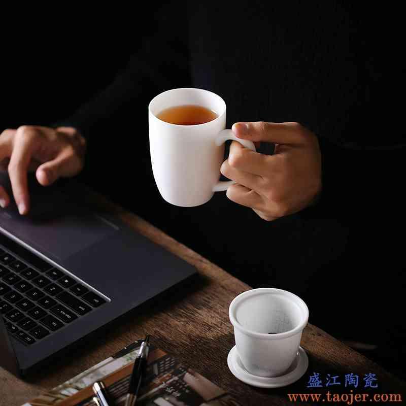 德化手工素烧白瓷马克杯带盖个人陶瓷会议办公室水杯泡茶杯子