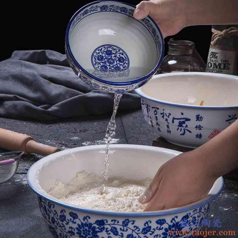 盆揉面家用陶瓷洗菜盆盆盆瓷加厚发面盆和面面盆晒酱老式大号活