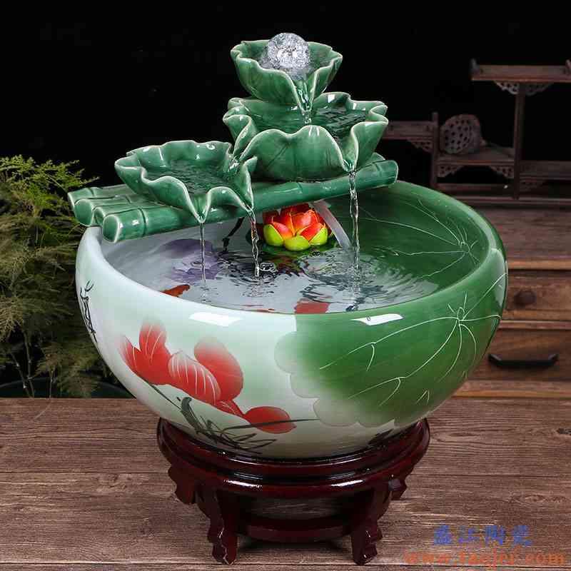 景德镇陶瓷鱼缸家用流水喷泉小金鱼缸大号养鱼盆摆件客厅加湿造景