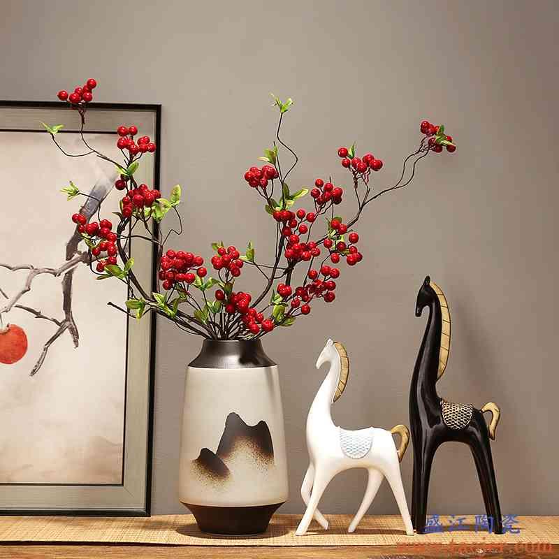 景德镇新中式陶瓷花瓶现代家居客厅电视柜玄关装饰品插花花器摆件