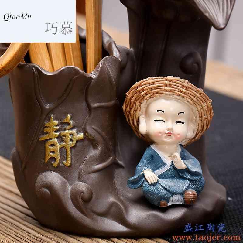 巧慕茶道六君子小和尚陶瓷茶宠摆件茶漏功夫茶艺组合茶具配件