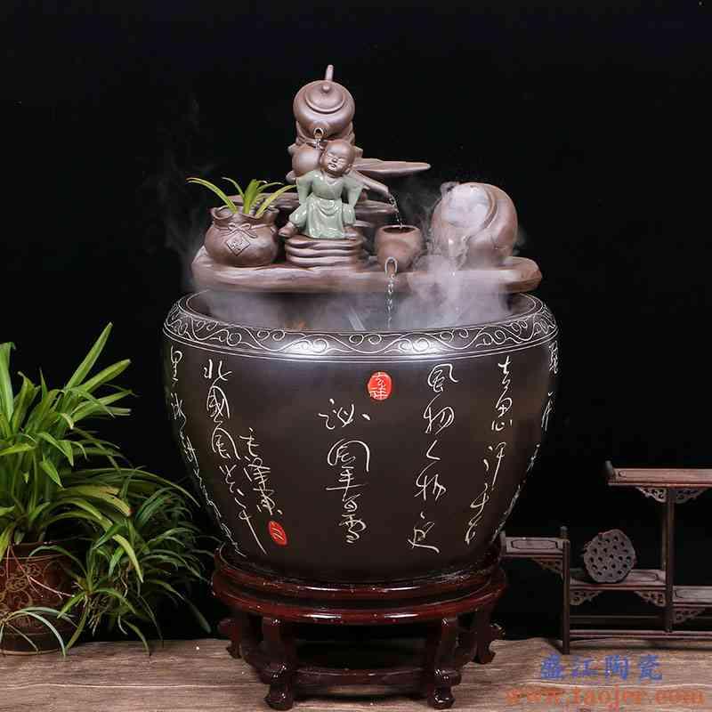 景德镇陶瓷流水喷泉招财风水轮摆件家居客厅加湿鱼缸开业乔迁礼品