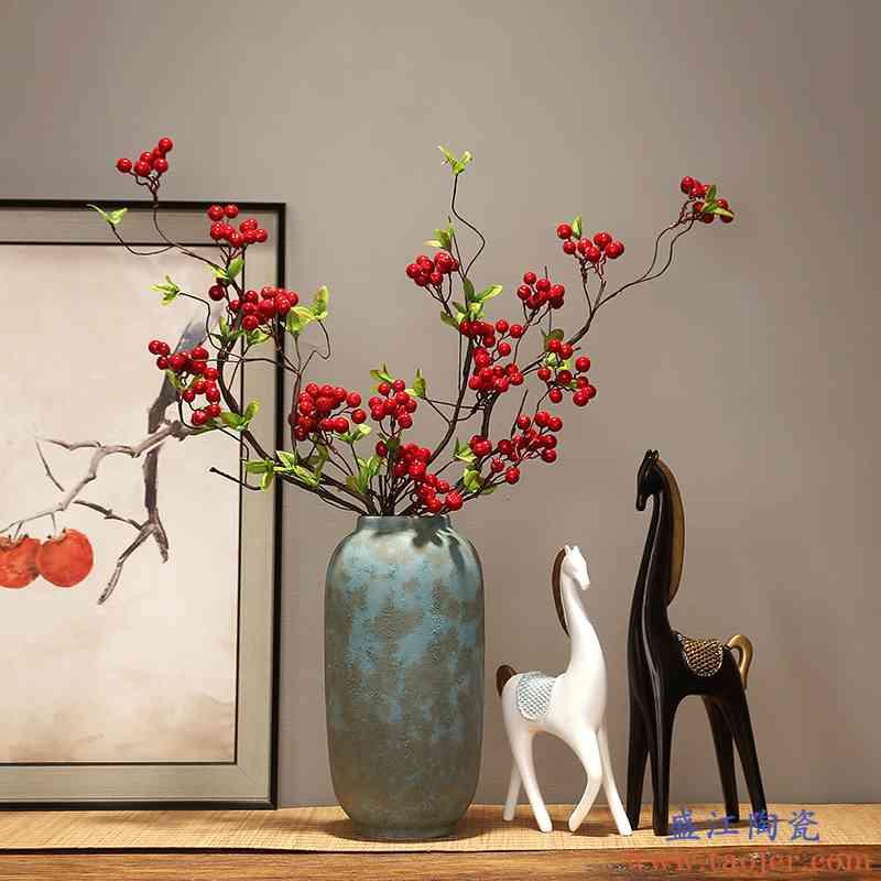 景德镇陶瓷器干花花瓶摆件现代创意家居客厅电视柜玄关装饰品摆设