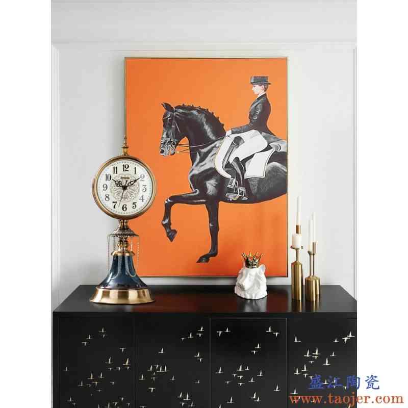 噜噜欧式复古陶瓷座钟客厅家用坐钟桌面老式大号台式钟表静音时钟