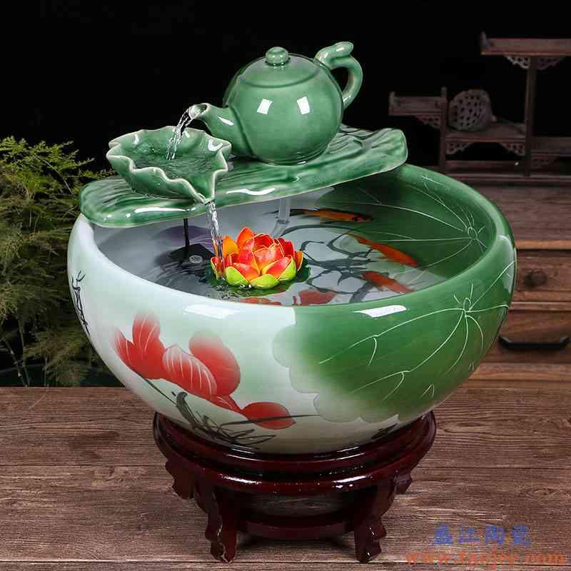 景德镇陶瓷鱼缸客厅喷泉桌面流水鱼缸小型家用循环招财鱼缸养鱼盆