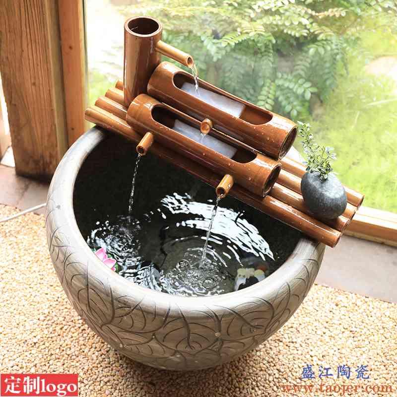 陶瓷鱼缸过滤器圆缸瓷缸增氧上置过滤盒鱼盆过滤设备静音三合一