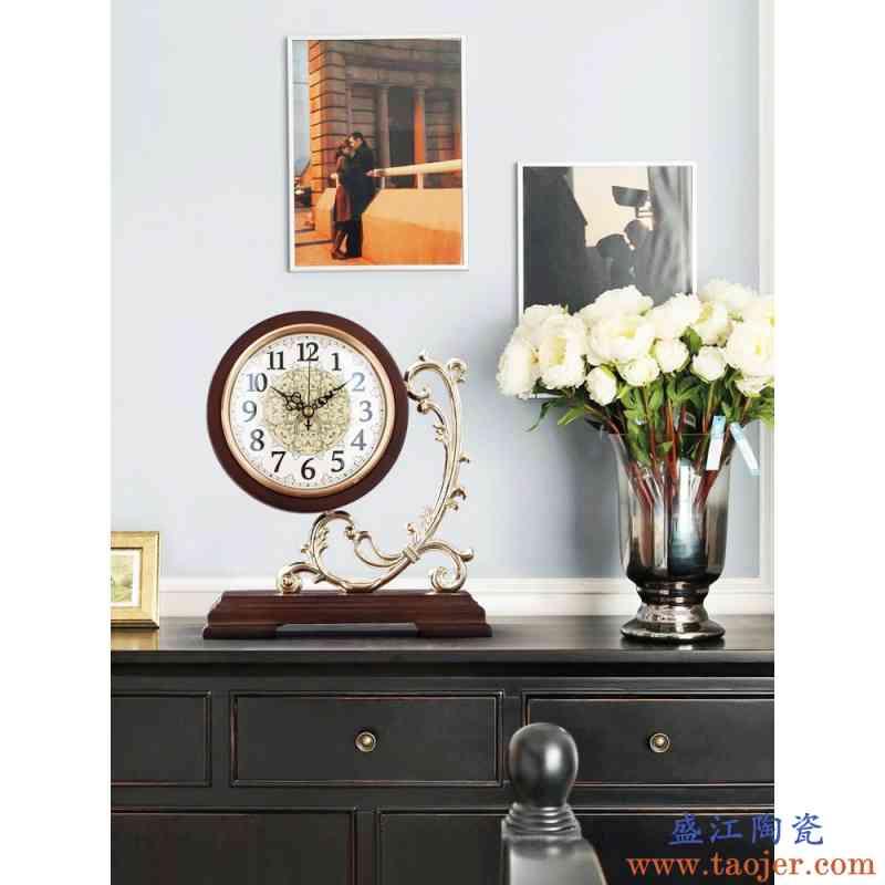 噜噜欧式复古实木座钟客厅家用大号摆放静音时钟摆件简约桌面台式