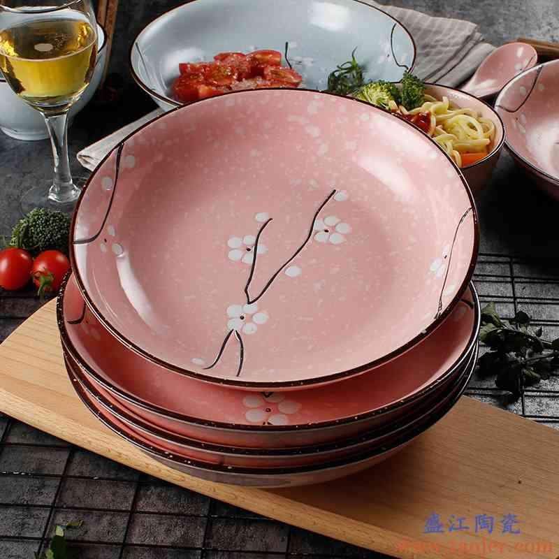 日式釉下彩和风 餐具陶瓷盘菜盘 家用创意圆盘子手绘樱花汤盘饭盘