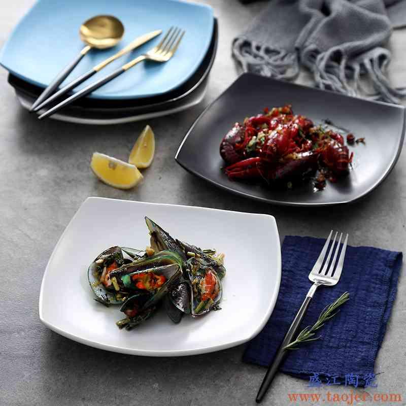 创意小龙虾菜盘子 饭店餐厅餐具平盘浅盘 不规则大号瓷盘陶瓷盘子