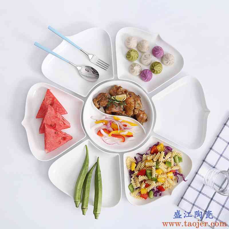 陶瓷拼盘创意菜盘不规则圆形盘子组合碗勺子家用摆盘日式餐具套装