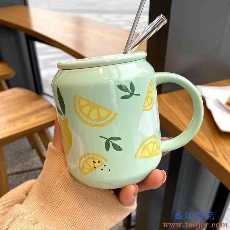 日系带吸管马克杯水果情侣陶瓷杯可爱少女韩版ins网红学生早餐杯