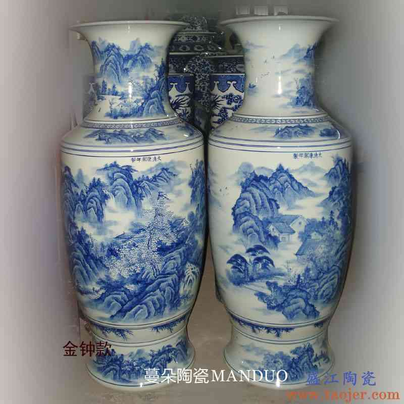 景德镇手绘青花山水仿康熙瓷器花瓶 1米左右高客厅陈设高档花瓶