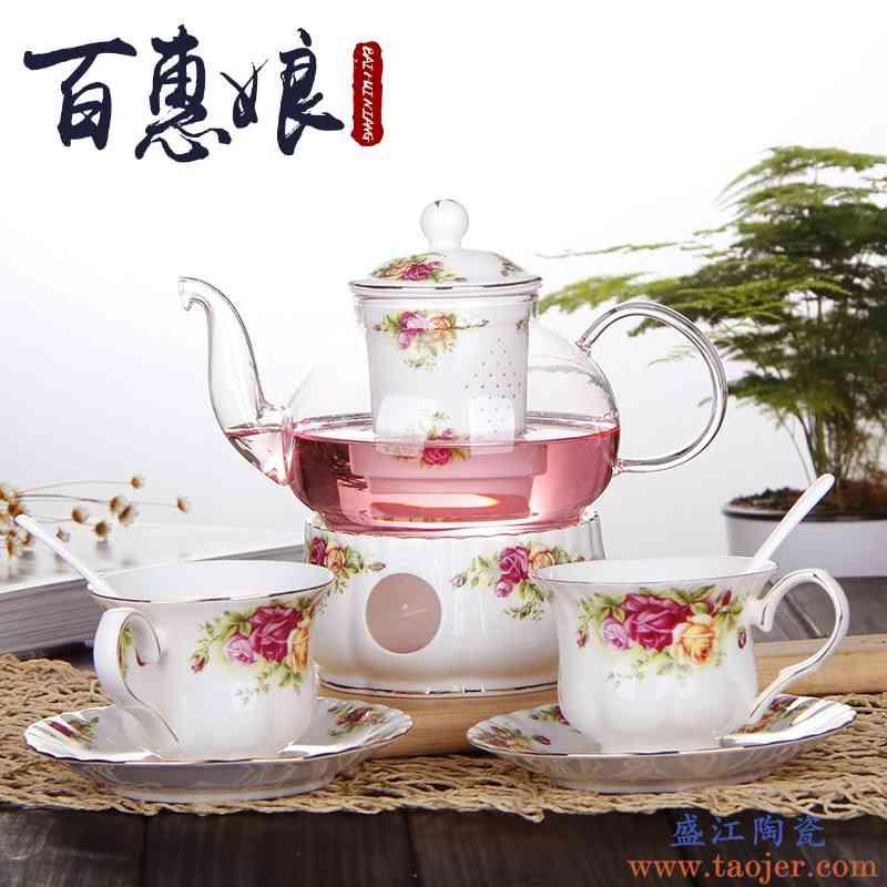 百惠娘花草茶具耐热玻璃茶壶家用整套陶瓷花茶茶具套装下午茶功夫
