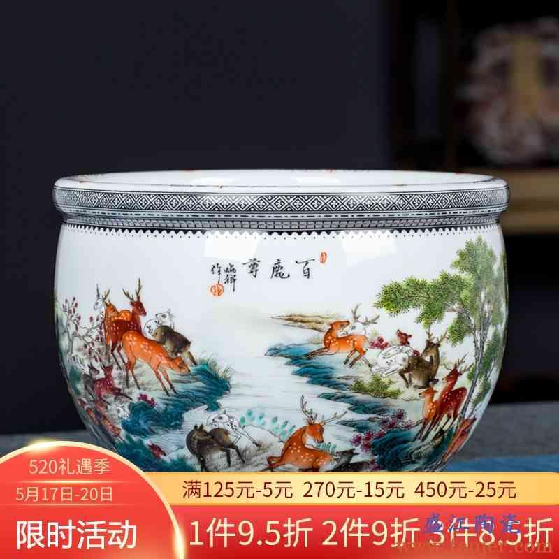 景德镇陶瓷器中式手绘粉彩百鹿尊装饰摆件家居客厅博古架工艺礼品