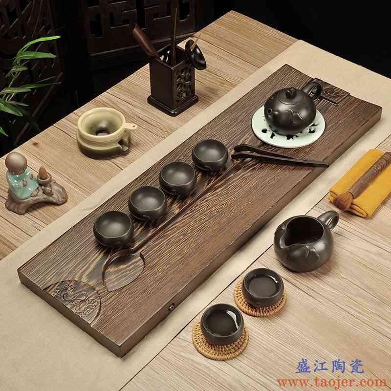 巧慕整块鸡翅木茶盘紫砂茶具套装陶瓷哥窑茶具茶海干泡台简约茶盘