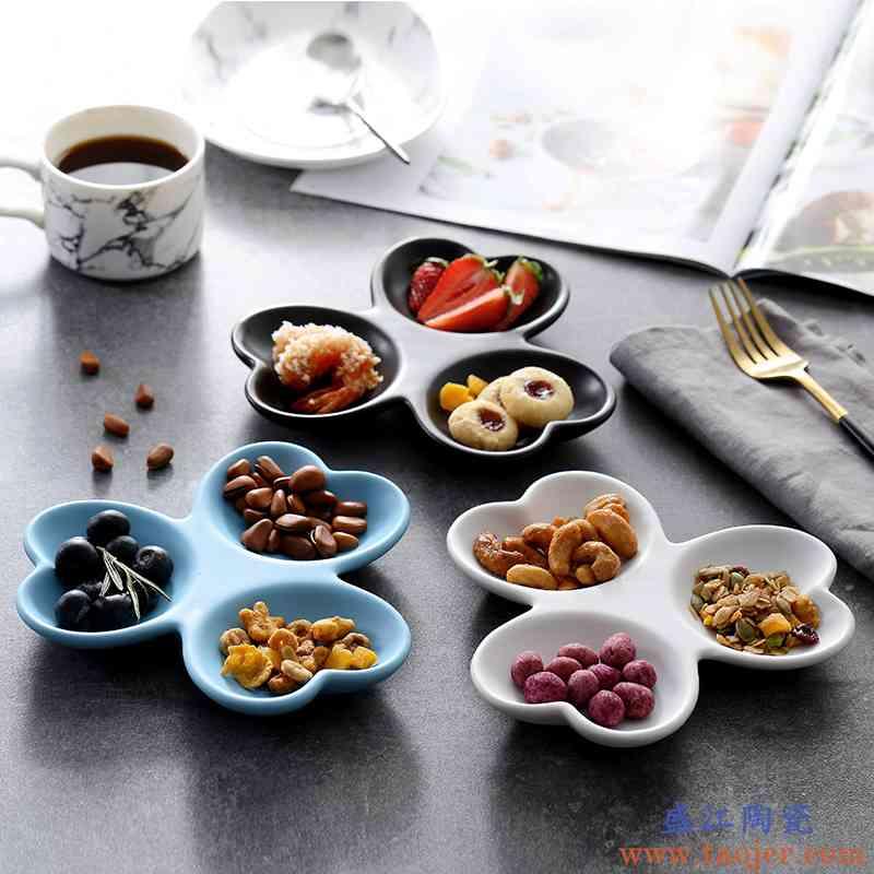 咖啡厅创意陶瓷盘子简约分格盘三格平盘点心盘西餐厅碟子黑白色款