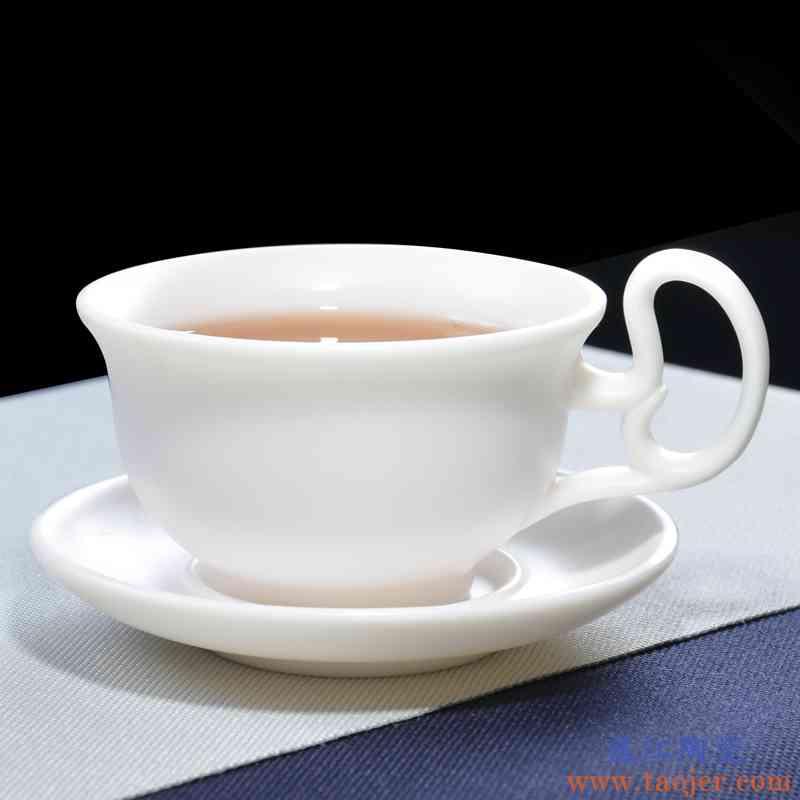 巧慕德化白瓷茶杯欧式红茶个人杯带把小号品茗杯杯具套装陶瓷杯垫