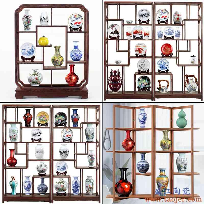 ABCDE套餐 景德镇博古架陶瓷花瓶摆件 酒柜装饰品 中式瓷器工艺品