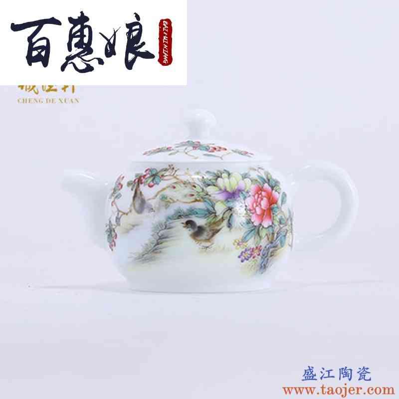 百惠娘景德镇高档精品功夫茶具茶壶手绘粉彩14号茶壶春溪鸟语