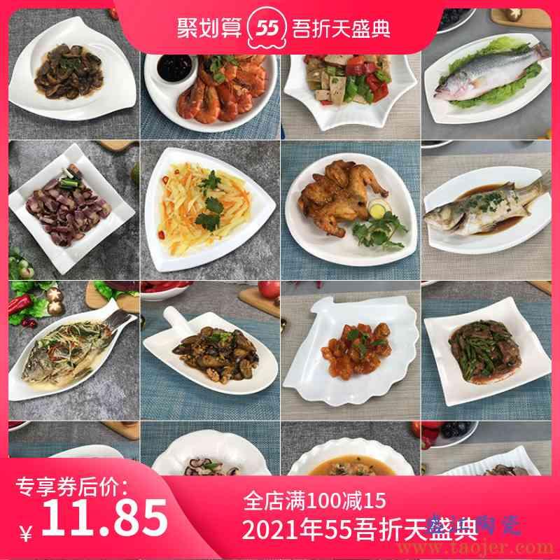 创意陶瓷鱼盘家用菜碗碟盘酒店餐具纯白色不规则盘子异形餐盘包邮