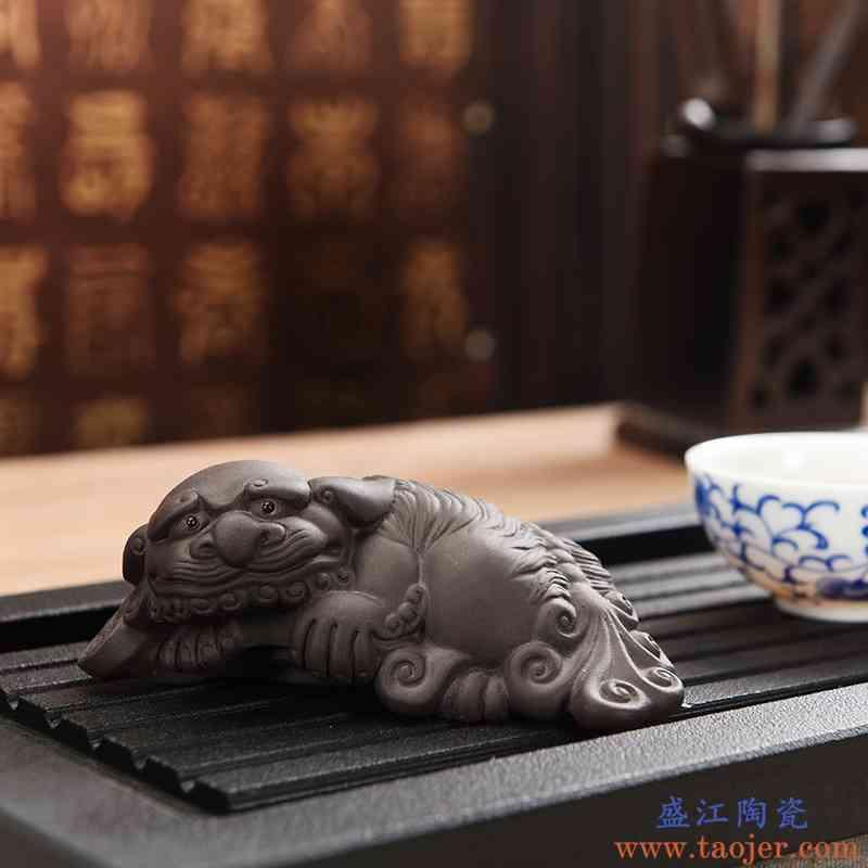 巧慕紫砂茶宠 招财貔貅功夫茶具配件创意小摆件茶盘金蝉摆设茶玩