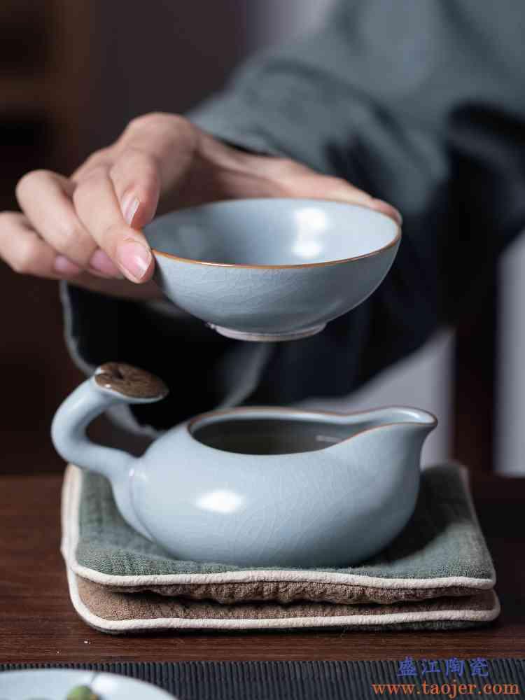 汝窑茶漏茶滤茶叶泡茶过滤器陶瓷茶隔功夫茶具茶具配件茶水分离器