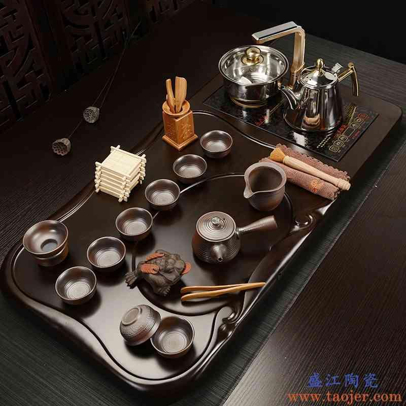 巧慕整套紫砂茶具套装黑檀实木大茶盘四合一电磁炉茶台托盘烧水壶