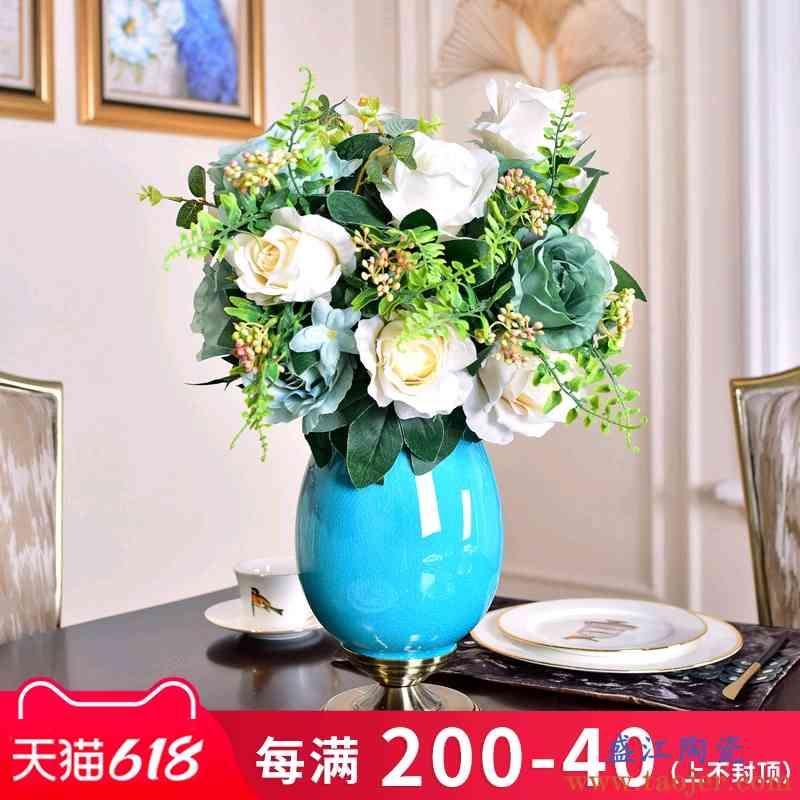 欧式轻奢花瓶摆件家居装饰品客厅现代单色釉陶瓷玄关酒柜餐桌摆设