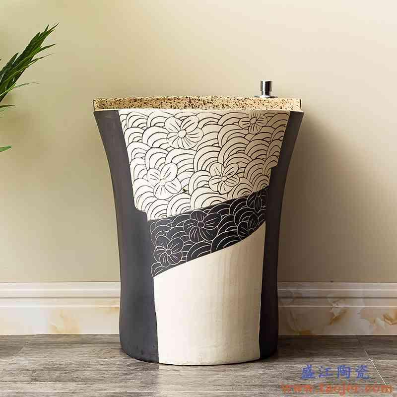 洗拖把池阳台卫生间室外拖布池自动下水水槽墩布池陶瓷家用地盆2