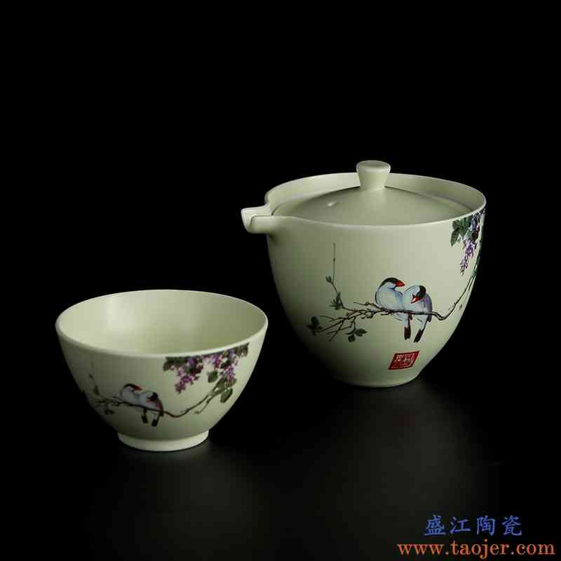 景德镇陶瓷快客杯一壶一杯车载旅行功夫泡茶具套装单人便携式茶杯