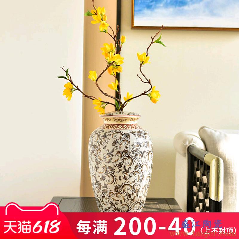 新中式陶瓷青花瓷花瓶禅意摆件景德镇餐桌客厅玄关装饰插花电视柜