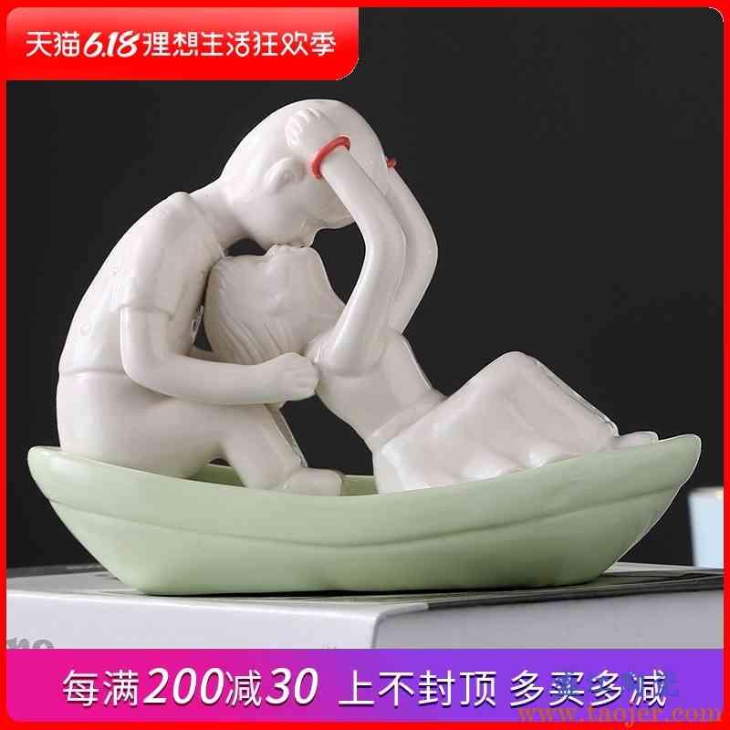 景德镇陶瓷现代创意手工艺品简约家居装饰品摆设客厅书桌玄关摆件