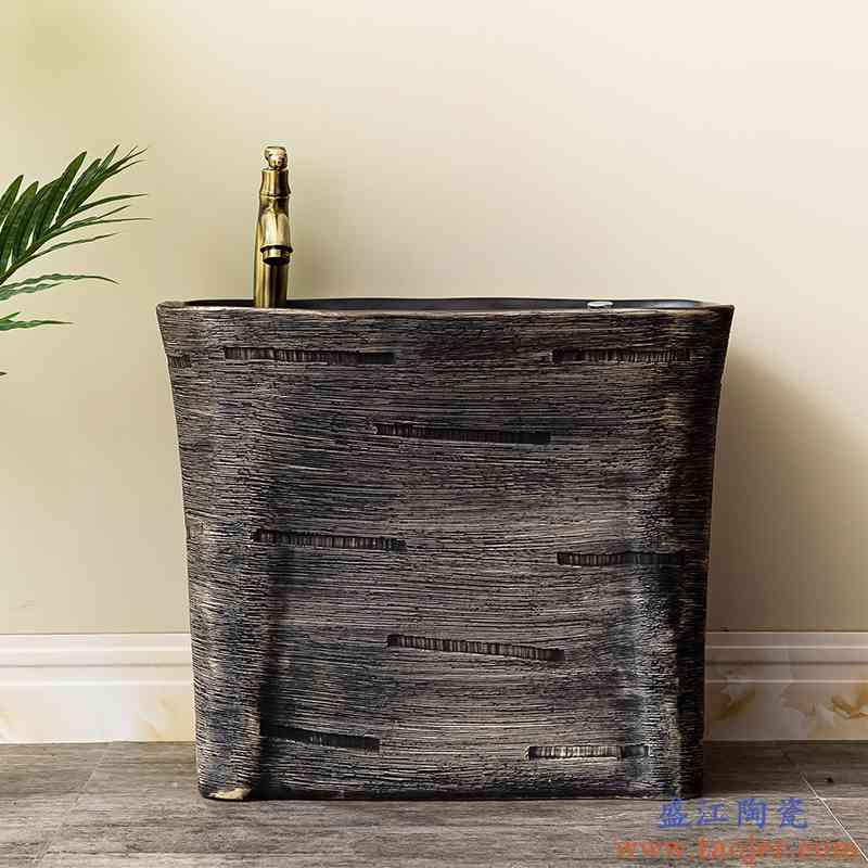 洗拖把池阳台卫生间室外拖布池自动下水水槽墩布池陶瓷家用地盆7