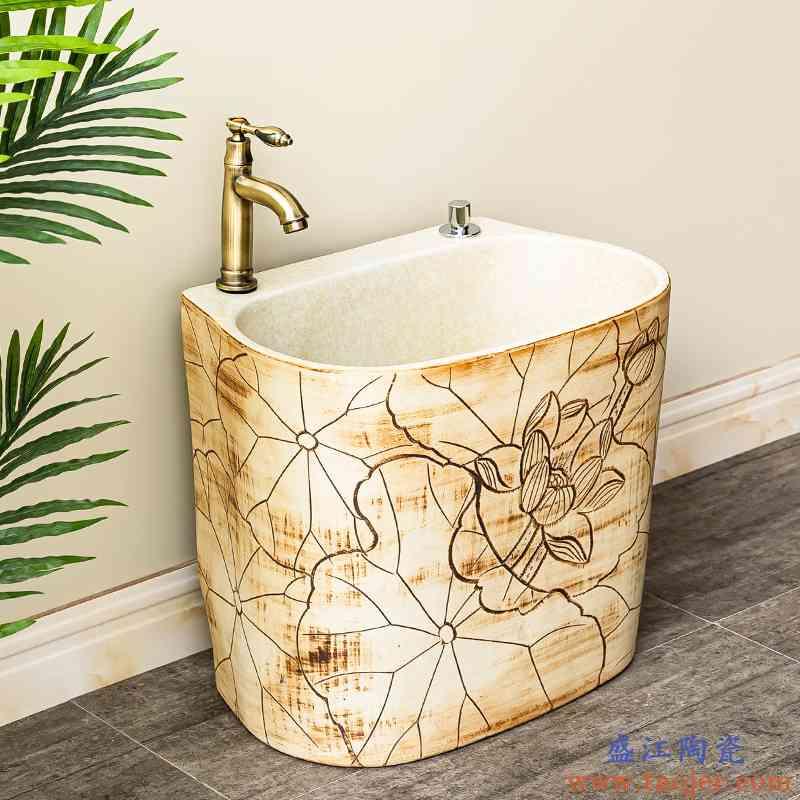 洗拖把池阳台卫生间室外拖布池自动下水水槽墩布池陶瓷家用地盆6