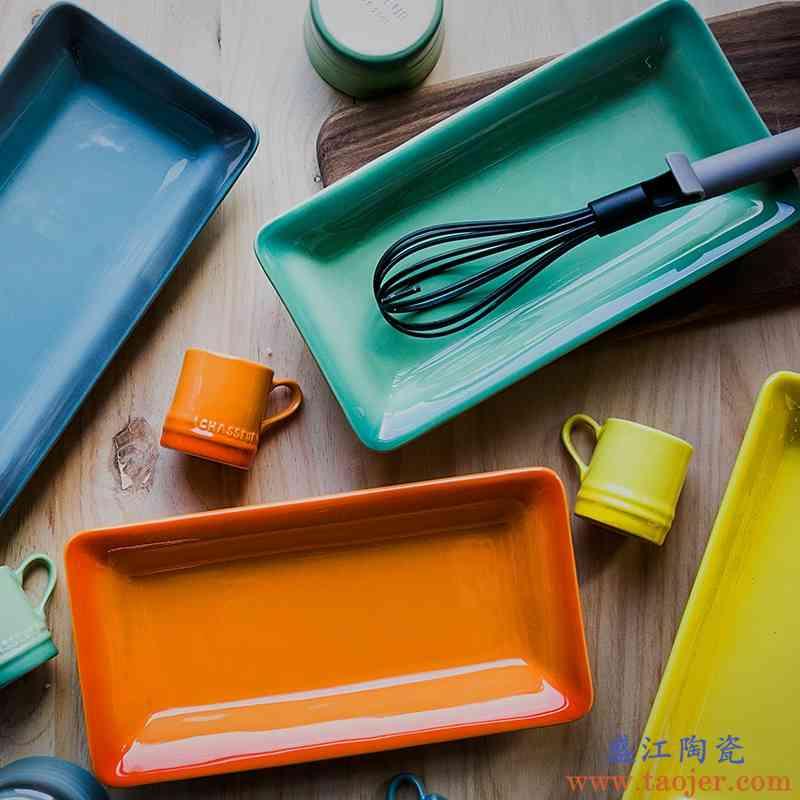 巧慕DY陶瓷西餐盘餐具创意菜盘鱼盘牛排盘芝士焗饭盘长方形烤盘家