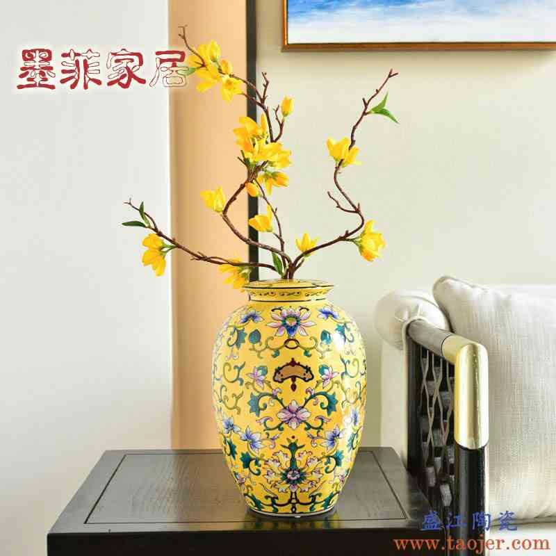 新中式美式景德镇复古手绘陶瓷花瓶摆件家居电视柜玄关装饰品摆设