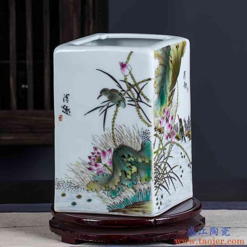 景德镇陶瓷器手绘清韵花鸟四方瓶插花瓶家居客厅书房装饰品摆件