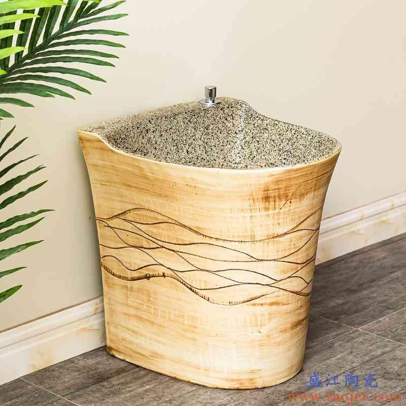 洗拖把池阳台卫生间室外拖布池自动下水水槽墩布池陶瓷家用地盆3