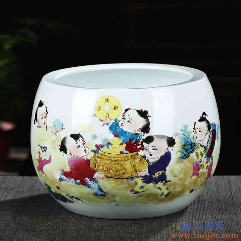 景德镇陶瓷器聚宝盆客厅玄关养鱼缸摆件创意家居装饰礼品花盆送礼