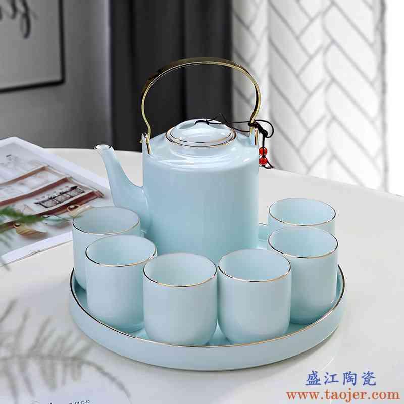 景德镇陶瓷功夫茶具套装家用大容量青瓷提梁壶茶杯茶盘泡茶壶北欧