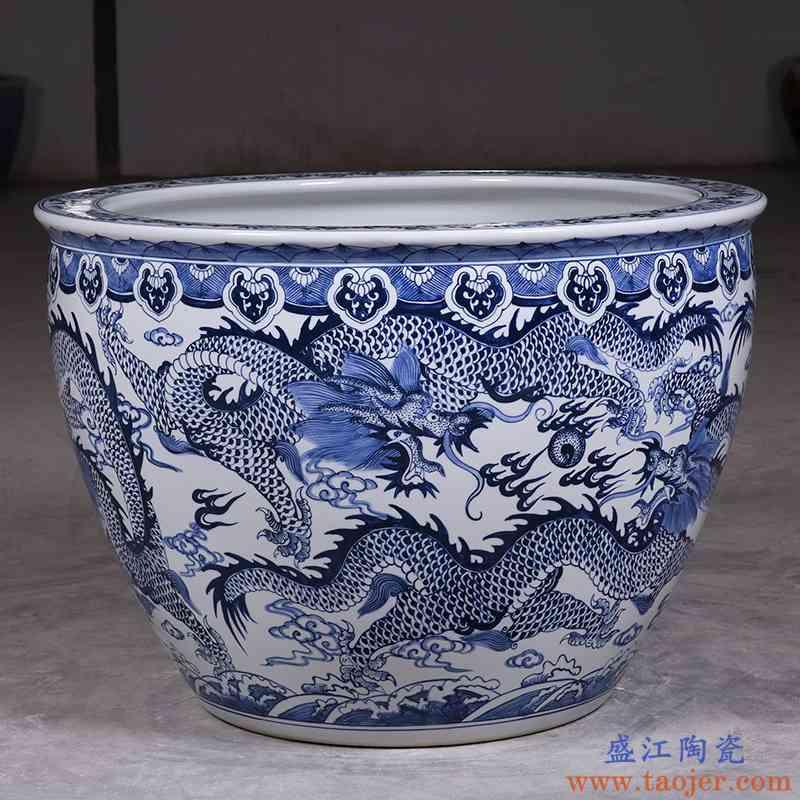 包邮景德镇青花瓷器1米大龙缸陶瓷养金鱼缸特大号水缸荷花风水缸