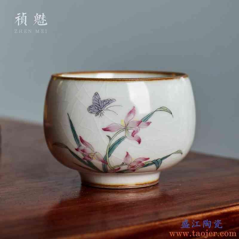 祯魅汝窑手绘开片可养茶杯 景德镇陶瓷功夫茶具品茗杯主人杯单杯