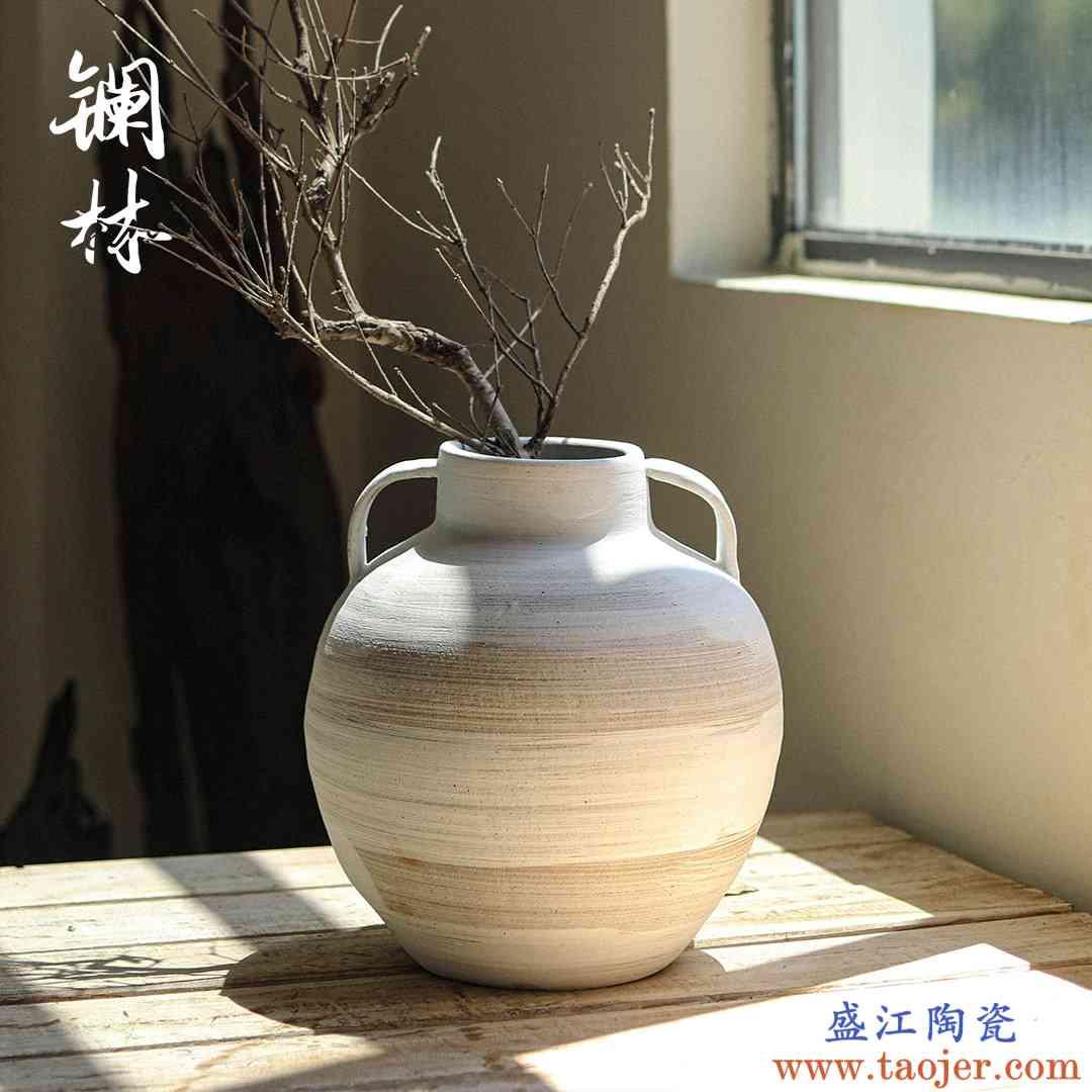 复古粗陶花瓶侘寂风简约创意陶罐客厅插干花鲜花花器名宿设计摆件