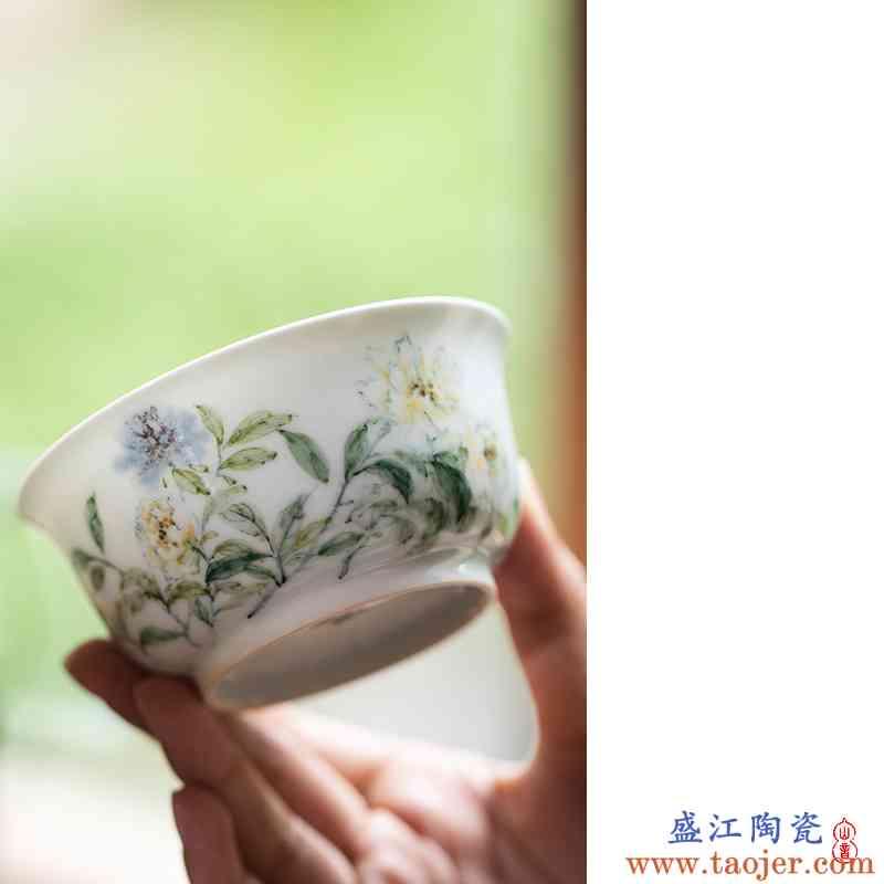 郭建 牡丹撇口杯 景德镇纯手工陶瓷茶杯主人杯功夫茶具品茗杯