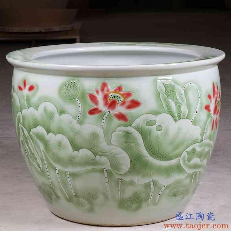 景德镇陶瓷鱼缸1米特大水缸瓷缸睡莲盆大荷花缸碗莲缸锦鲤缸别墅