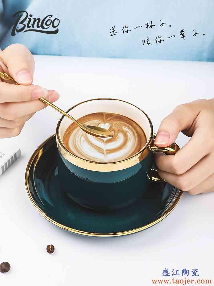 Bincoo欧式陶瓷咖啡杯套装简约咖啡杯6件套家用小奢华咖啡杯碟勺
