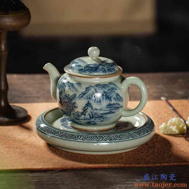 枭窑 柴窑手工手绘陶瓷青花茶壶开片釉老陶泥复古山水茶具套装