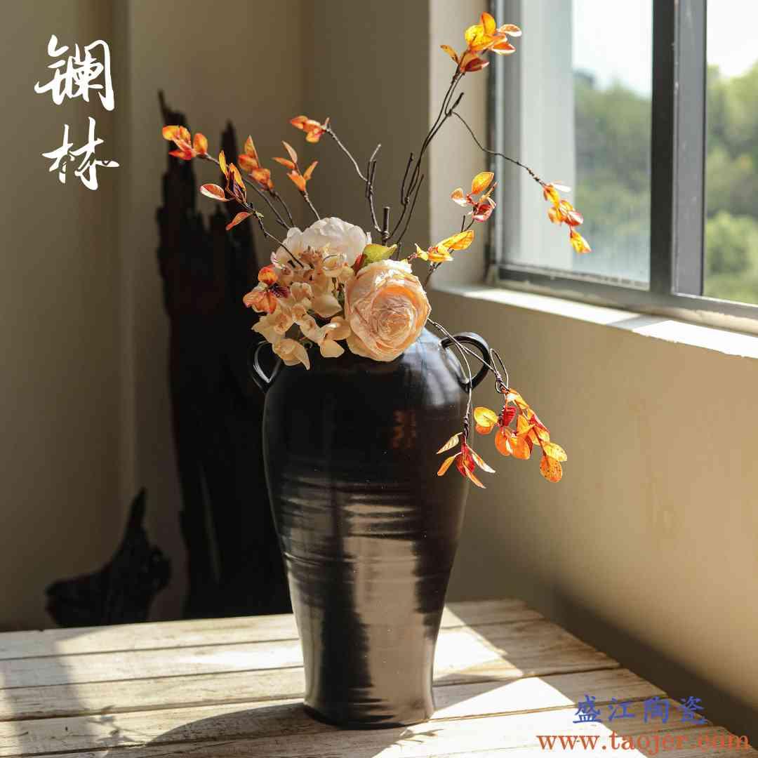花瓶陶瓷复古文艺设计款陶罐插花干花花盆花坛室内民宿装饰品摆件