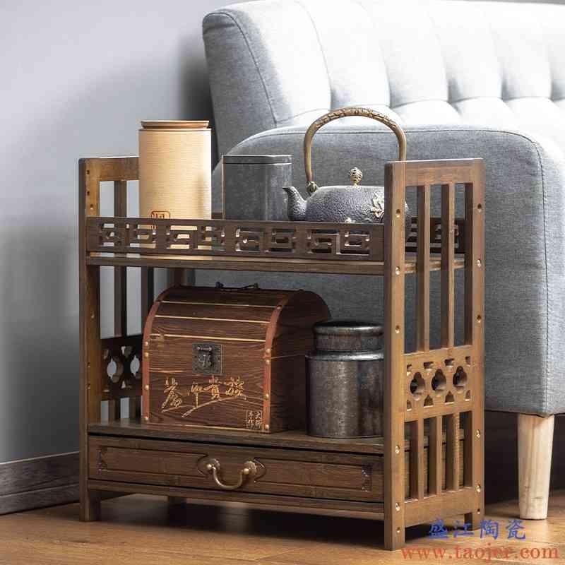 桌面茶杯架小型茶桌博古架紫砂壶茶具置物架实木茶宠茶叶罐收纳架