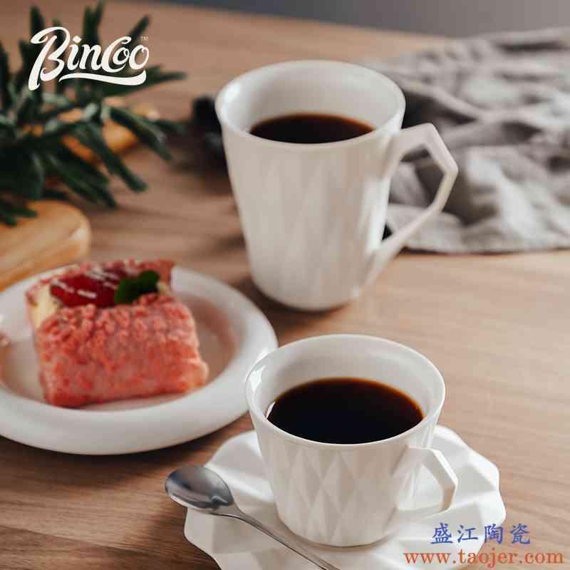 Bincoo 纯白磨砂杯子咖啡杯套装马克杯陶瓷杯高颜值ins风水杯家用